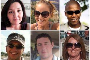 (Clockwise from top left) Lisa Romero, Sandy Casey, Charleston Hartfield, Denise Burditus, Adrian Murfitt and Sonny Melton - victims of the Las Vegas shooting on Oct 1, 2017.