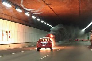 A taxi caught fire in the KPE tunnel in August, triggering an evacuation. A new water-mist fire-fighting system will be installed by 2022.
