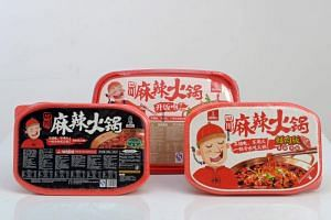 The popular instant hotpot brand Ba Shu Lan Ren, which comes in three mala flavours: original, rice and meat, and beef.
