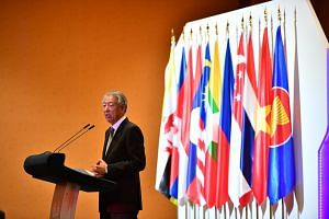 DPM Teo Chee Hean gives the opening address during the opening ceremony of the 23rd Asean Transport Ministers Meeting.