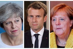 Leaders (from left) Theresa May, Emmanuel Macron and Angela Merkel issued a joint statement.