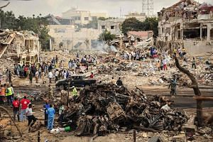 A general view of the scene of the explosion of a truck bomb in the centre of Mogadishu, on Oct 15, 2017.