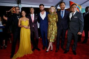 (From left) The cast of Thor: Ragnarok, Jeff Goldblum, Tessa Thompson, Taika Waititi, Chris Hemsworth, Cate Blanchett, Tom Hiddleston and Mark Ruffalo pose during the Los Angeles premiere.
