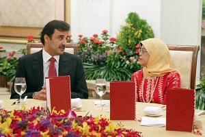 President Halimah Yacob hosts a state banquet for His Highness Sheikh Tamim bin Hamad Al Thani, Emir of the state of Qatar, at the Istana on Oct 17, 2017.