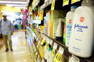 Johnson's baby powder on a supermarket shelf in Alhambra, California, in August 2017.