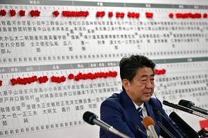 Japan's Prime Minister Shinzo Abe, leader of the Liberal Democratic Party (LDP), attends a news conference after Japan's lower house election, at the LDP headquarters in Tokyo, Japan on Oct 22, 2017.