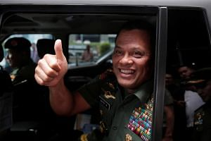 Indonesian military Chief Gatot Nurmantyo after talking to reporters in Jakarta, Indonesia, on Jan 5 2017.