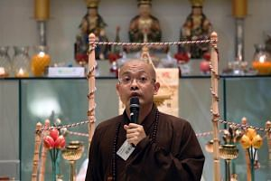 Venerable Guojun, abbot of the Mahabodhi Monastery in Lorong Kilat, at the annual general meeting in the monastery on Mar 6, 2016.
