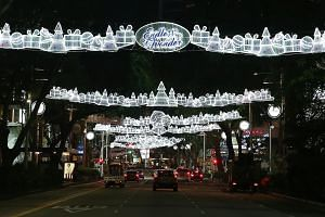 Christmas lights along Orchard Road being tested on Monday night. The light-up will begin on Nov 11 in a ceremony to be officiated by President Halimah Yacob.
