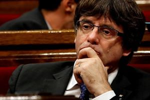 Carles Puigdemont during the independence vote session at the Parliament in Barcelona, Oct 27, 2017.