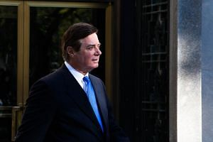 Former Trump campaign chairman Paul Manafort leaves federal court in Washington, DC.