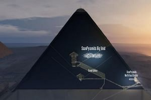 3D artistic view made by the ScanPyramids mission shows a hidden internal structure in Khufu's Pyramid, the largest pyramid in Giza.