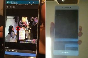 Ms Denise Neo shows the CCTV footage of her phone getting stolen (left), and shows her recovered phone (right), which she got back on Thursday (Nov 2).
