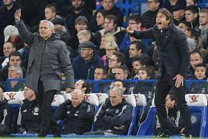 Manchester United manager Jose Mourinho (left) had irked Chelsea manager Antonio Conte (right) by criticising his habit of complaining about injuries this season.