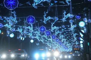 2016: Christmas lights seen at Orchard Road on Nov 30.The annual light-up brought hues of blue, turquoise and sapphire to the popular city shopping belt. The lights, all 60,620m of them, glittered along the stretch from Tanglin Mall all the way to Pl