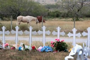 A pasture near a memorial where 26 crosses were placed to honour the 26 victims killed at the First Baptist Church of Sutherland Springs on Nov 8, 2017 in Sutherland Springs, Texas.