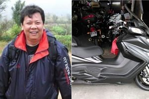 Mr Chia Weng On was wearing the pictured raincoat on the day of the accident. He was on his motorcycle (right) when he was believed to have skidded.