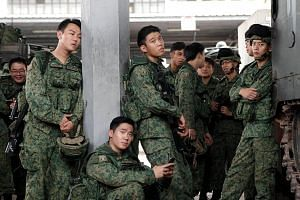 Cinema still of Ah Boys To Men 4, starring (from left) Jaspers Lai, Joshua Tan, Wang Weiliang and Noah Yap.