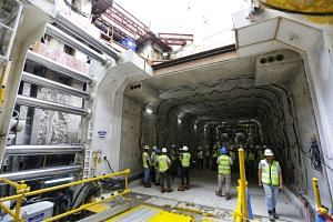 Tunnelling work on a 60m-long pedestrian underpass - built using a unique rectangular tunnel boring machine - connecting the Stevens MRT station to the Singapore Chinese Girls' School (SCGS) is expected to be completed by January 2018.