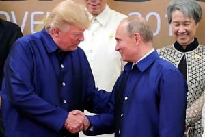 US President Donald Trump and Russian President Vladimir Putin shake hands during a photo session in Danang.