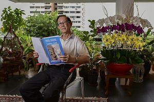 Remisier Sung Yoon Chon, 65, at his block. He says there should not be any ugly spats or efforts to persuade others over the collective sale. Mr Patrick Mowe, 80, in his home in Laguna Park, reading through a printed copy of the e-newsletter he creat