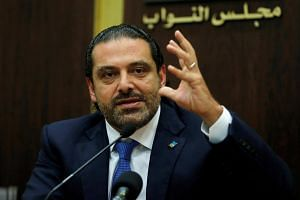 Then Lebanese Prime Minister Saad al-Hariri speaking at a press conference in Beirut, Lebanon, on Oct 9, 2017.