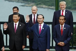 """Leaders take part in a """"family photo"""" during the Apec summit in Danang."""