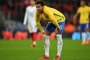 Brazil's Neymar during an international friendly soccer match at Wembley Stadium in London, Britain on Nov 14, 2017.