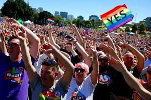 Supporters of the 'Yes' vote for marriage equality celebrate after it was announced the majority of Australians support same-sex marriage in a national survey, at a rally in central Sydney, Australia.