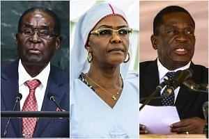 (From left) Zimbabwean President Robert Mugabe, Zimbabwe's first lady Grace Mugabe and Zimbabwe's then acting President Emmerson Mnangagwa.