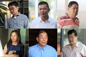 (Clockwise from top left) Seet Seo Boon, See Chye Huat, Or Poh Soon, Seah Ee Lam, Toh Hee Choye and Lim Poi Hwa are believed to be members of an alleged home-grown illegal gambling syndicate.