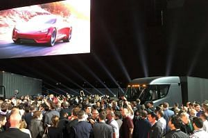Tesla's new electric semi truck is unveiled during a presentation in Hawthorn, California, on Nov 16, 2017.