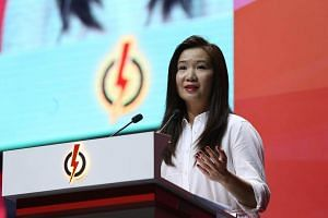 Ms Fang Eu-Lin delivers her speech at the annual PAP convention.