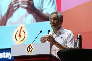 Prime Minister Lee Hsien Loong delivers his speech at the annual PAP convention.