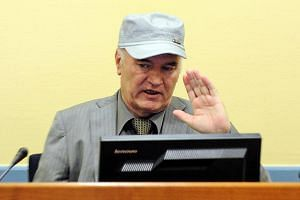 A file photo of  the former Bosnian Serb army commander Ratko Mladic appearing in court at the International Criminal Tribunal for the former Yugoslavia (ICTY) in the Hague, Netherlands.