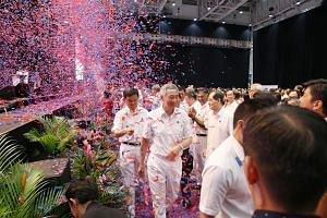 Prime Minister Lee Hsien Loong at the PAP annual convention, at Big Box on Nov 19, 2017.