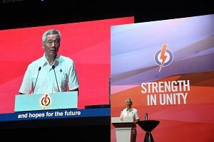 PM Lee Hsien Loong delivers his speech at the annual PAP convention.