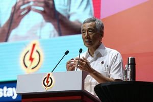 Prime Minister Lee Hsien Loong at the PAP Awards and Convention 2017 on Nov 19, 2017, at Big Box.
