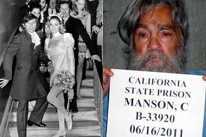 Notorious US killer Charles Manson (right), who led a California cult that killed pregnant Hollywood star Sharon Tate (left, with her director husband Roman Polanski at their wedding in 1968) died on Monday (Nov 20).