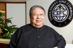 Former Hong Kong Secretary for Home Affairs Patrick Ho poses for a photo at the Hong Kong offices of the China Energy Fund Committee in Wan Chai.