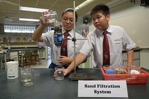 Queenstown Secondary School students Bernice Song and Marcus Teh, both 13, demonstrate a sand filtration system using water from the school's pond.