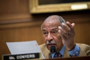 John Conyers questions witnesses during a House Judiciary Committee hearing concerning the oversight of the US refugee admissions program.