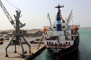 A file photo of a cargo ship moored at Yemen's rebel-held Red Sea port of Hodeida.