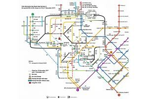 Two volunteers have put together a bus route map to help commuters through December's shorter train operating hours on segments of the MRT network.