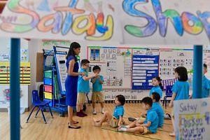 A teacher conducting a class at the Ministry of Education's (MOE) MK@Punggol Green kindergarten.
