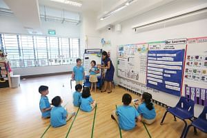 A teacher conducting a class at the Ministry of Education's (MOE) MK@Punggol Green kindergarten on Aug 23, 2017.