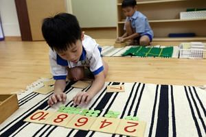 Children engaging in activities at the Modern Montessori Preschool Centre in Spooner Road on Feb 26, 2016.