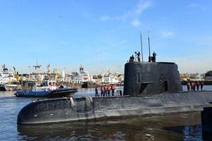 Submarine ARA San Juan docked in Buenos Aires on Nov 18, 2014.