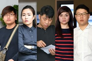 Five of the eight people- Jeremy Lee Yi Long, 22; Cheryl Sng Yu Qin, 33; Zhu Hongyan, 35;  Amorti, 42; Desmond Choo Choon Piu, 43 - who were charged on Nov 29 with  assaulting, verbally abusing and using criminal force on police officers.