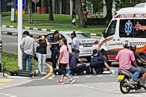 A photo of the incident shared online in chat groups shows an ambulance at the scene and paramedics attending to the teenager.